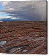 Waterpockets And Storm At The Valley Of Fire Canvas Print
