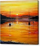 Watery Sunset At Bala Lake Canvas Print