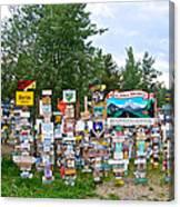 Watson Lake Sign Forest Along Alaska Highway In  Yukon-canada Canvas Print
