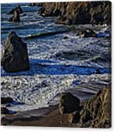 Wave Breaking On Rock Canvas Print