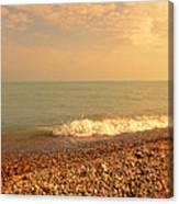 Wave On Rocky Beach Canvas Print