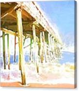 Waves By The Pier Canvas Print