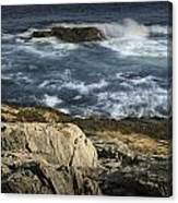 Waves Crashing Against The Shore In Acadia National Park Canvas Print