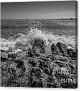 Waves Crashing Bw Canvas Print