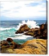 Waves Crashing On Shoreline Rocks Canvas Print