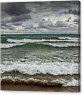 Waves Crashing On The Shore In Sturgeon Bay At Wilderness State Park Canvas Print
