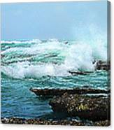 Waves Hitting Shore Canvas Print