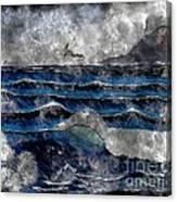 Waves - Ocean - Steel Engraving Canvas Print