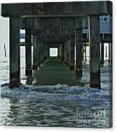 Waves Under The Clearwater Pier 60 Canvas Print