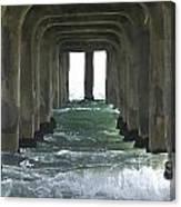 Waves Under The Pier Landscape Canvas Print