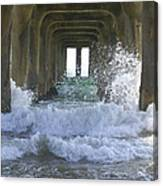 Waves Under The Pier Portrait Canvas Print