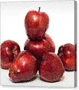 We Are Family - 6 Red Apples - Fresh Fruit - An Apple A Day - Orchard Canvas Print