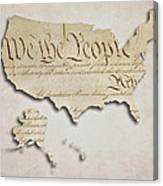 We The People - Us Constitution Map Canvas Print