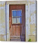 Weathered Rustic Red Wood Door Of Portugal Canvas Print