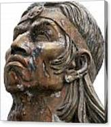 Weathered Statue Of Inca Warrior Canvas Print