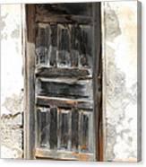 Weathered Wooden Gray Door Canvas Print