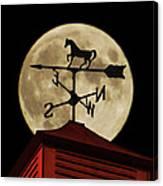 Weathervane Before The Moon Canvas Print