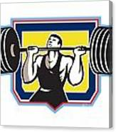 Weightlifter Lifting Heavy Barbell Retro Canvas Print