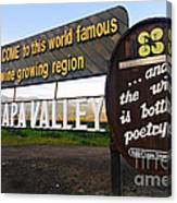 Welcome Sign To Napa Valley Canvas Print