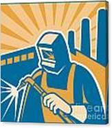 Welder Welding Factory Retro Woodcut Canvas Print