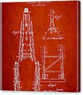 Well Drilling Apparatus Patent From 1960 - Red Canvas Print