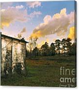 Old Well House And Golden Clouds Canvas Print