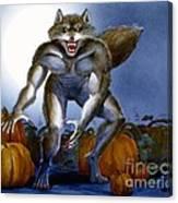 Werewolf With Pumpkins Canvas Print