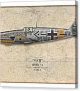 Werner Molders Messerschmitt Bf-109 - Map Background Canvas Print