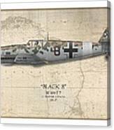 Werner Schroer Messerschmitt Bf-109 - Map Background Canvas Print
