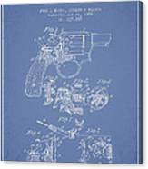 Wesson Hobbs Revolver Patent Drawing From 1899 - Light Blue Canvas Print