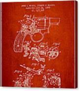 Wesson Hobbs Revolver Patent Drawing From 1899 - Red Canvas Print
