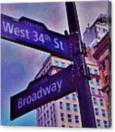 West 34th And Broadway Canvas Print