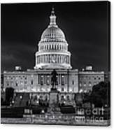 West Front Of The National Capitol Bw Canvas Print