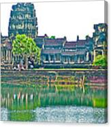 West Gallery From Across Moat In Angkor Wat In Angkor Wat Archeological Park Near Siem Reap-cambodia Canvas Print