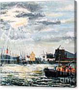 West India Dock Entrance And The Gun Public House Canvas Print
