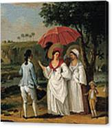 West Indian Landscape With Figures Promenading Before A Stream Canvas Print
