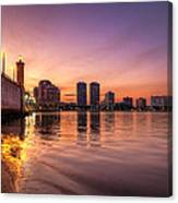 West Palm Beach Skyline At Dusk Canvas Print