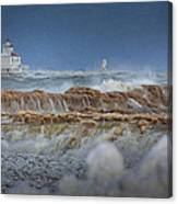 West Pierhead In Ice Canvas Print