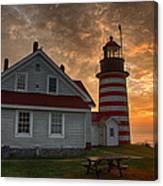West Quoddy Light At Sunrise Canvas Print