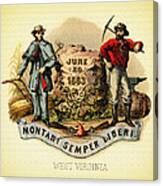 West Virginia Coat Of Arms - 1876 Canvas Print