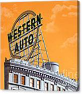 Western Auto Sign Artistic Sky Canvas Print