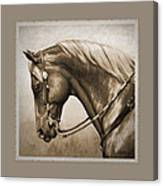 Western Horse Aged Photo Fx Sepia Pillow Canvas Print