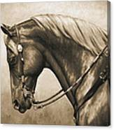 Western Horse Painting In Sepia Canvas Print