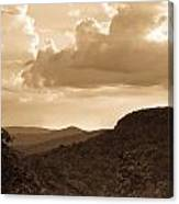 Western Mountain Scene In Sepia Canvas Print