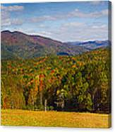 Western North Carolina Horses And Mountains Panorama Canvas Print