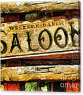 Western Saloon Sign - Drawing Canvas Print
