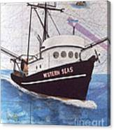 Western Seas Trawl Fishing Boat Nautical Chart Art Canvas Print
