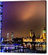 Westminster And Eye Night Glow Canvas Print