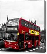 Westminster And Red Bus Canvas Print