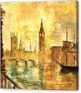 Westminster Palace London Thames Canvas Print